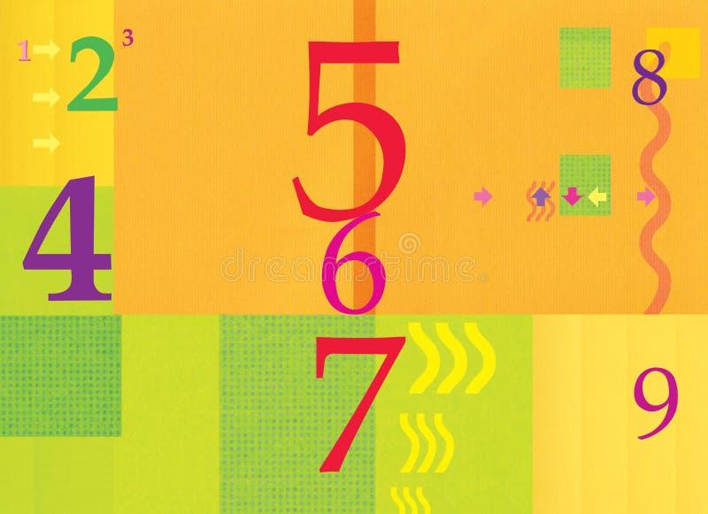 numerology диаграммы Абстрактная предпосылка, оранжевый зеленый цвет Лето и осень Стрелки и волны Иллюстрация цифров иллюстрация вектора