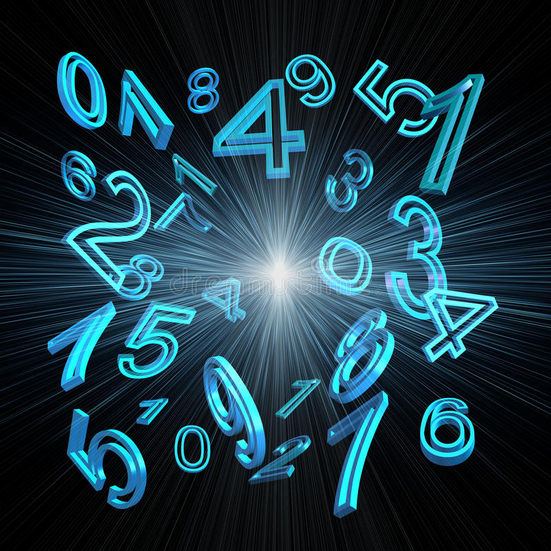 Numerology. Blue numbers on a black background stock illustration