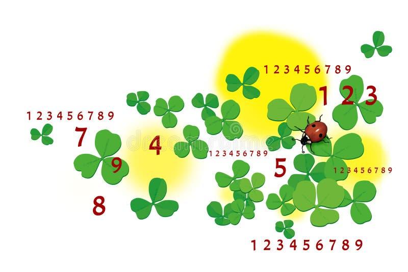 numerology divination Folhas e joaninha do trevo Isolado no fundo branco ilustração royalty free