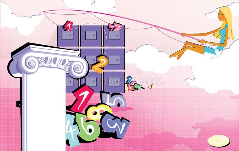Numerology. Fortunetelling. A girl sitting on a cloud is fishing figures from chest drawers. Pink background with a bunch of vector illustration