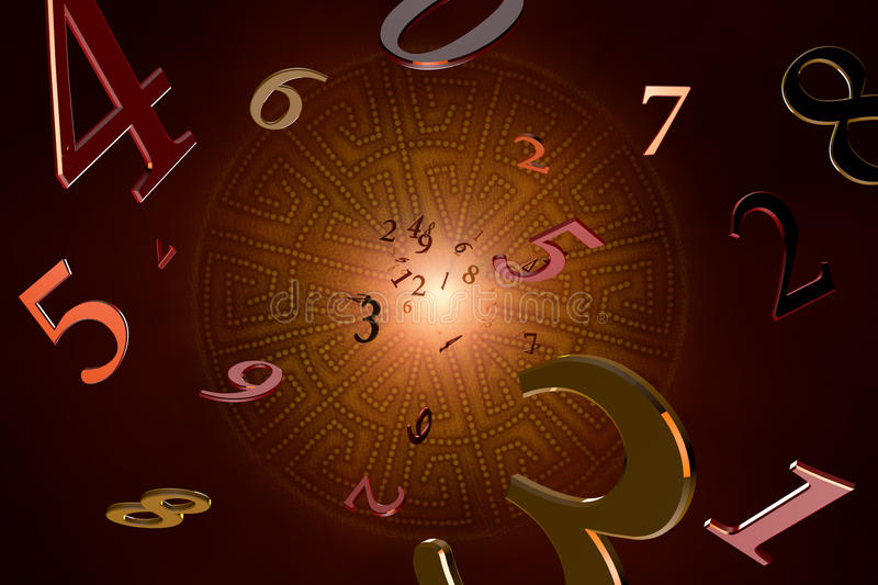 Numerology (magical knowledge). A lot of numbers on a beautiful art background vector illustration