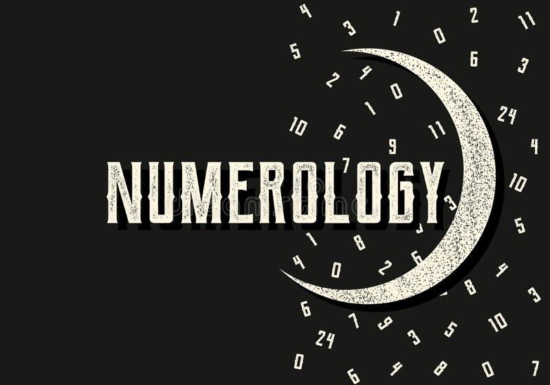 Numerology. Mystical vector illustration with figures and moon in retro style. stock illustration