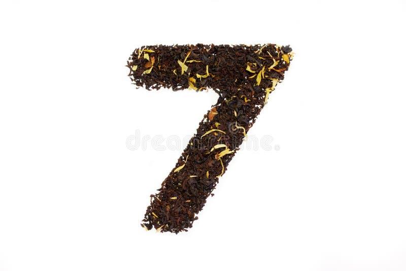 Numerologyfiguur zeven van de theedoopvont zevende ge royalty-vrije stock afbeeldingen