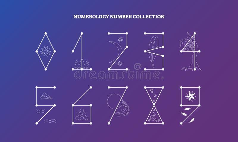 Numerologyzahlen mit Design der symbolischen Bedeutung vector Illustrationssammlung, geheime Wissensziffernwissenschaft stock abbildung