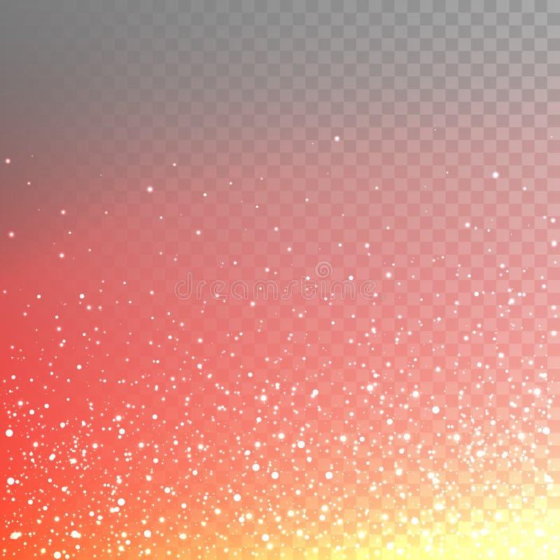 Numerose scintille ardenti dell'illustrazione di riserva di vettore, scintille, luci isolate su un fondo a quadretti trasparente  illustrazione vettoriale