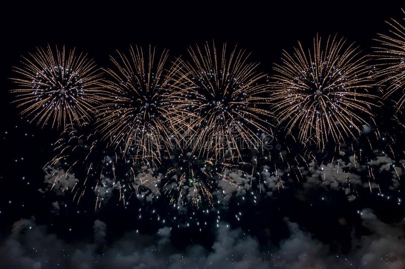 Numerous bright Fireworks on Black background. royalty free stock images