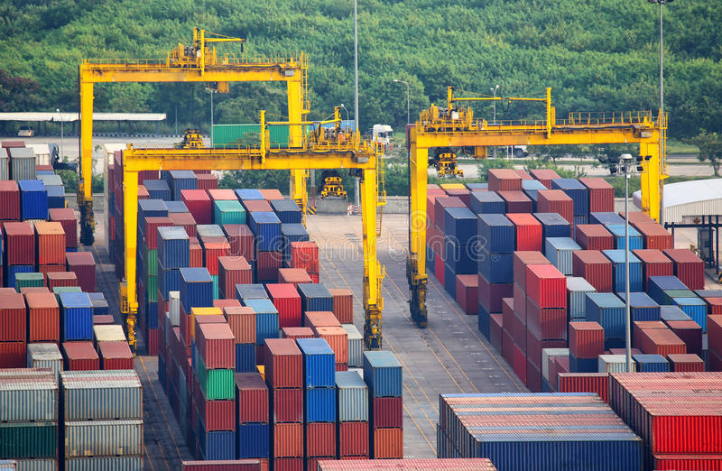 Numerous shipping containers stock image