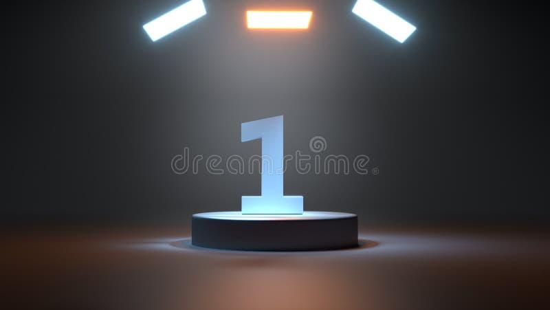 Numerowy jeden światło na świątecznej podium 3D ilustracji ilustracja wektor