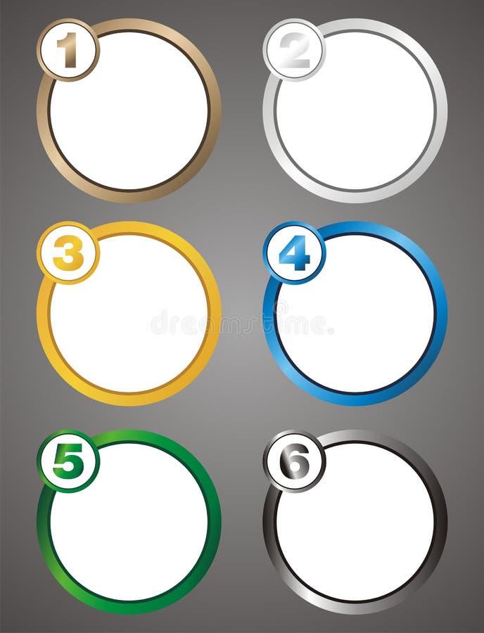 Numerowy krok - okręgu tło ilustracja wektor