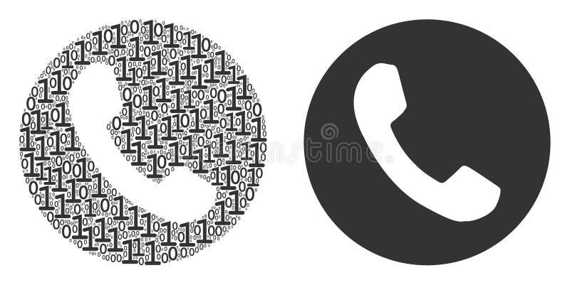 Numeru Telefonu skład Binarne cyfry ilustracja wektor