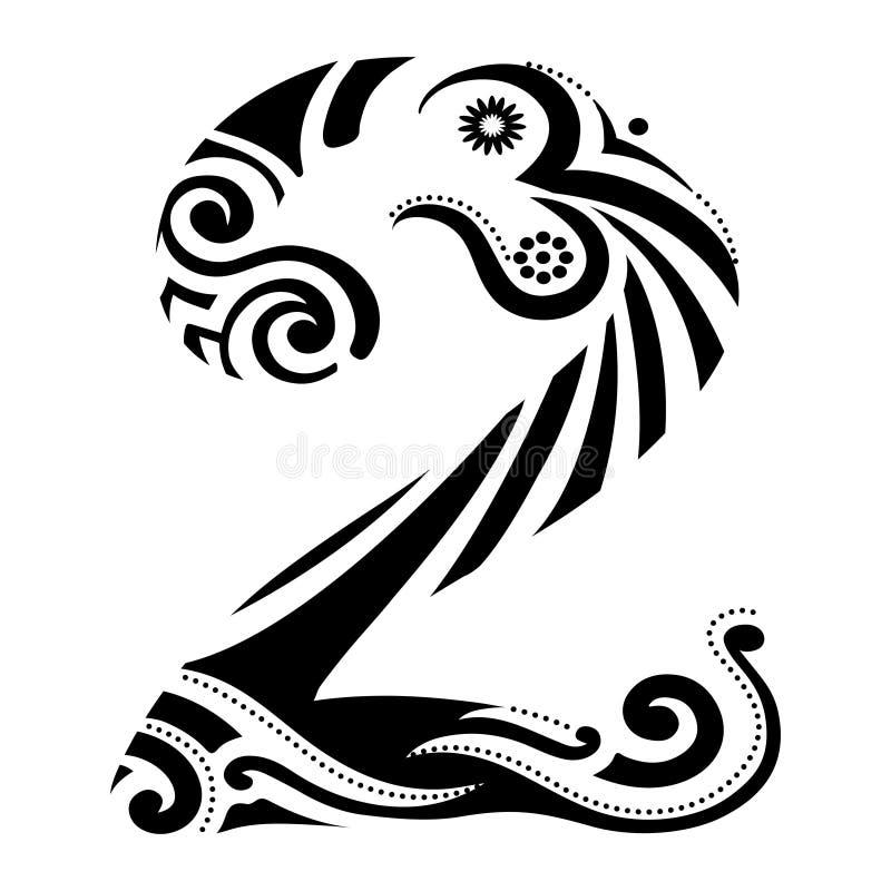 Numeryk Dwa w tatuażu zdjęcie stock