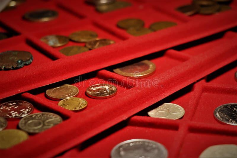 Numismatic работа Собрание монеток, вклад стоковые фотографии rf