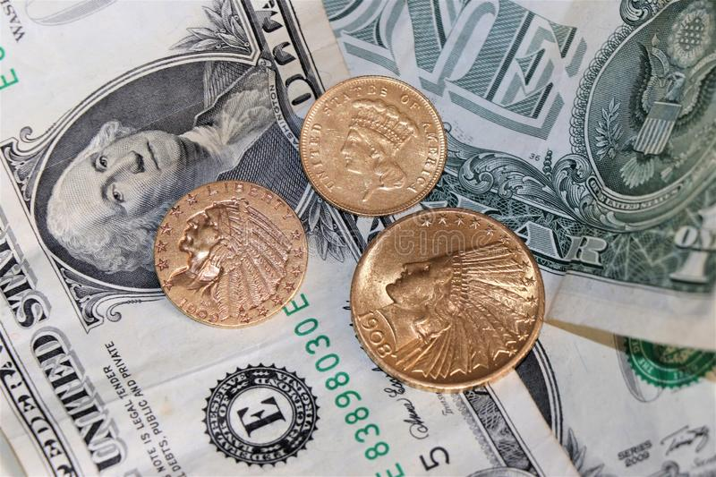 Coins Collection. Unated States Indian Head gold coins. royalty free stock image