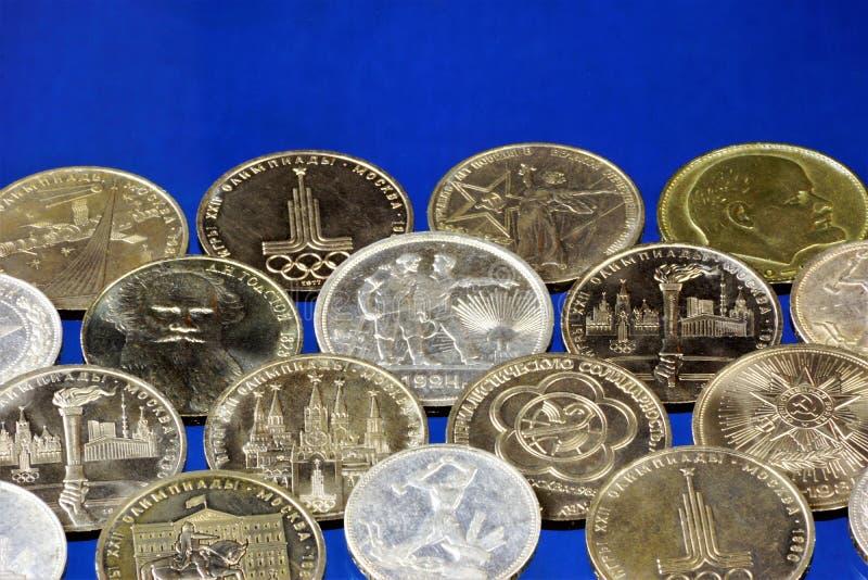 Numismatik eller samla för mynt, studier historien av coinagen och monetär cirkulation i olika länder av världen och arkivbilder