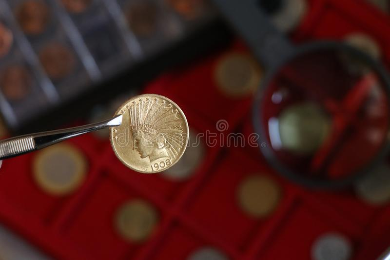 Numismatisch an den Arbeitsshows einige Goldm?nzen lizenzfreies stockbild