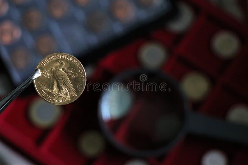 Numismatisch an den Arbeitsshows einige Goldm?nzen lizenzfreie stockbilder