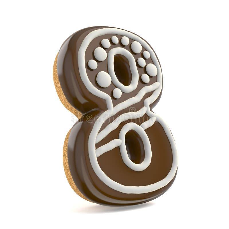 Nummer ÅTTA stilsorten för pepparkakan för 8 chokladjul dekorerade wi vektor illustrationer