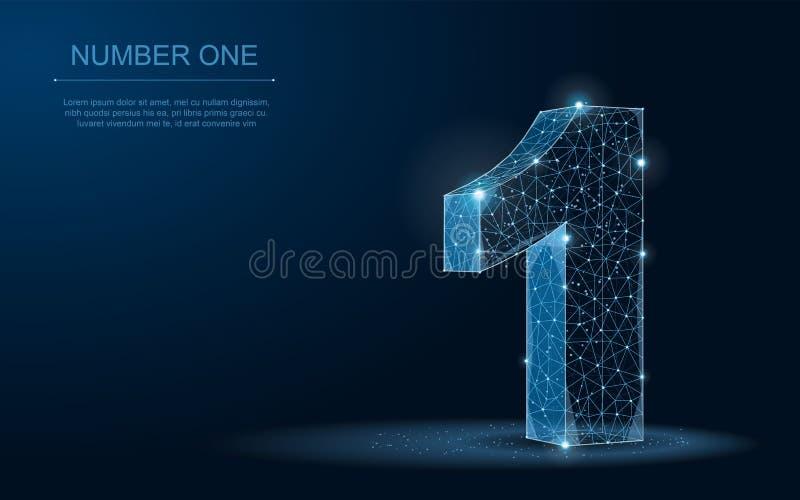 Nummer één… 3D Abstracte veelhoekige blauwdrukvector royalty-vrije illustratie