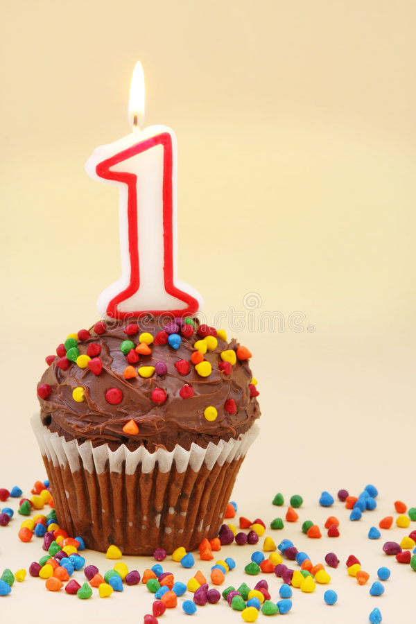 Nummer Één Cupcake royalty-vrije stock foto
