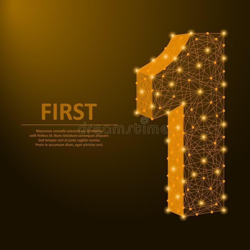 Nummer één door punten en lijnen, eerste teken met gouden veelhoekig wireframenetwerk dat wordt gemaakt Vector royalty-vrije illustratie