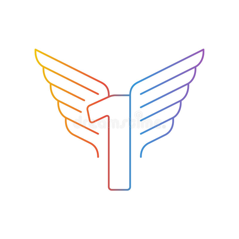 Nummer één dunne lijnen, reeks pictogrammen met vleugels stock illustratie