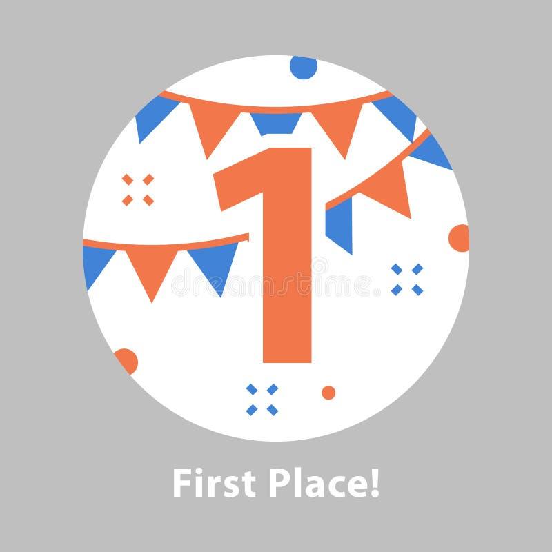 Nummer één, eerste plaats, toekenningsceremonie, het vieren gebeurtenis, succesvolle verwezenlijking royalty-vrije illustratie