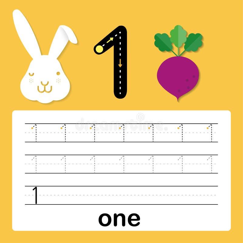 Nummer één, kaart voor jonge geitjes die, aantekenvel voor jonge geitjes aan praktijk het schrijven vaardigheid, Vectorillustrati vector illustratie