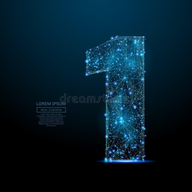 Nummer één laag polyblauw stock illustratie