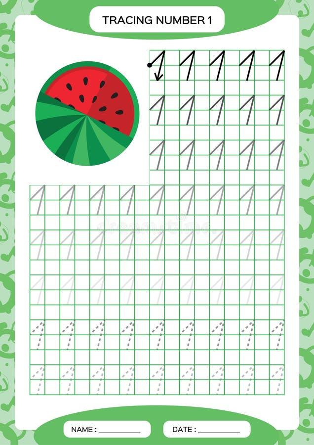 Nummer 1 Één vindend Aantekenvel watermeloen Peuteraantekenvel, het praktizeren motorvaardigheden - vindende gestormde lijnen A4 stock illustratie