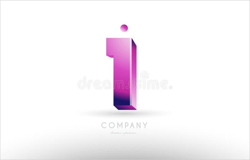 nummer 1 één zwart wit roze ontwerp van het embleempictogram royalty-vrije illustratie