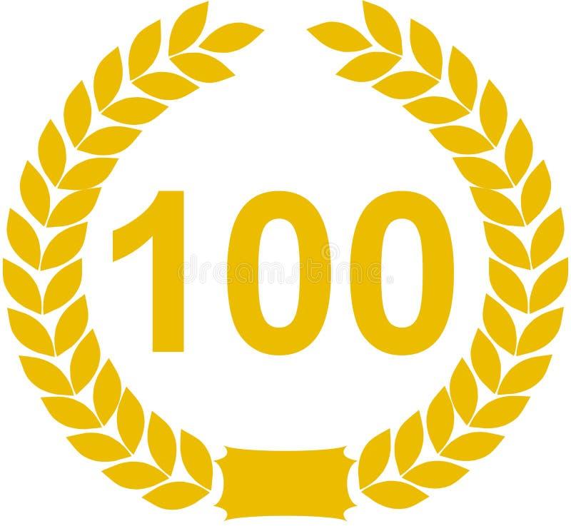 Nummer 100 lauwerkrans royalty-vrije illustratie