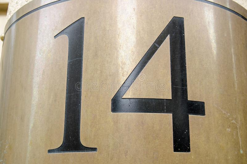 Nummer 14 royaltyfria foton