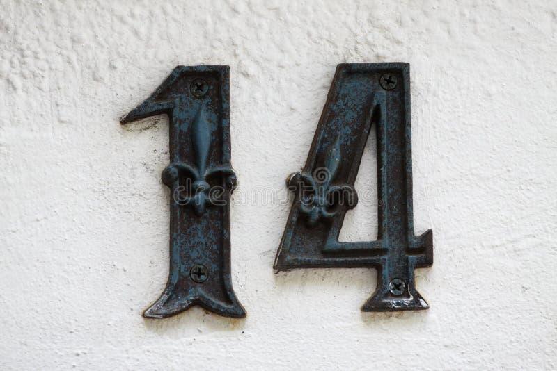 Nummer 14 stock afbeelding