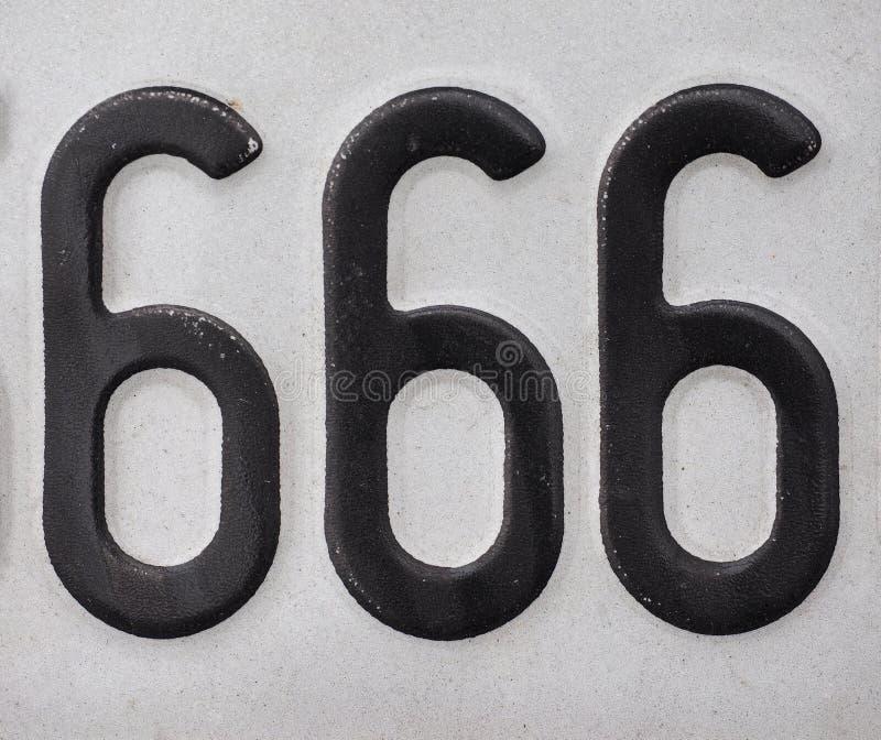 Nummer 666 stock afbeelding