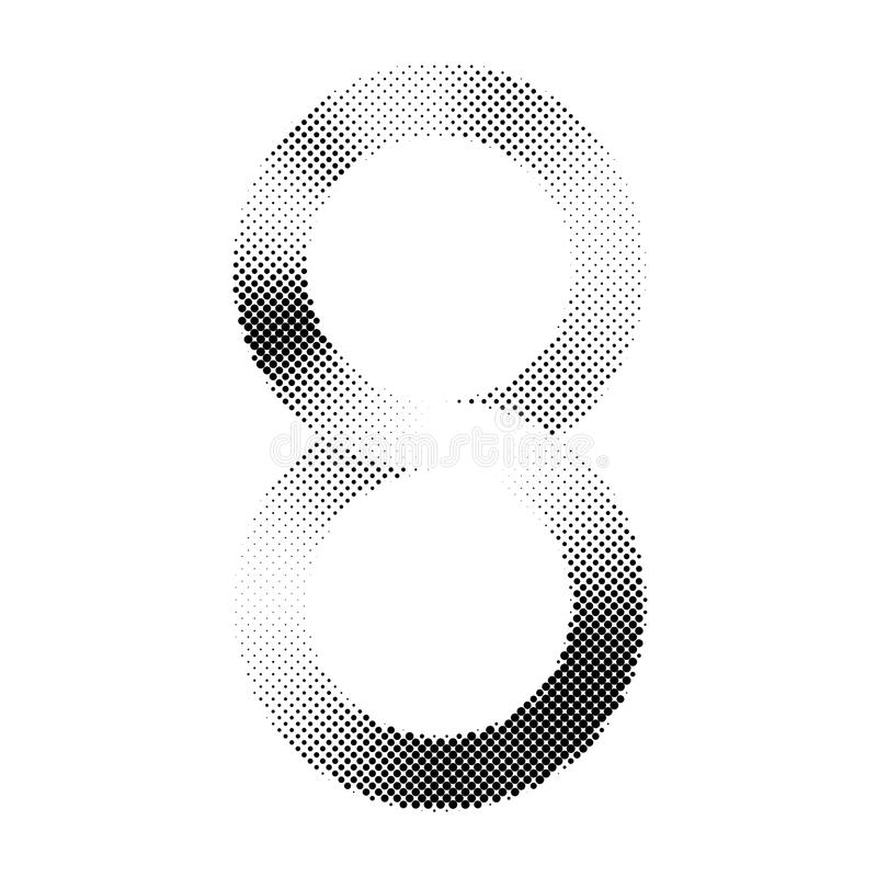 Nummer acht of het oneindigheidssymbool met halftone druk techn stock illustratie