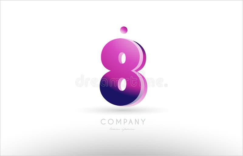 nummer 8 acht het zwarte witte roze ontwerp van het embleempictogram vector illustratie