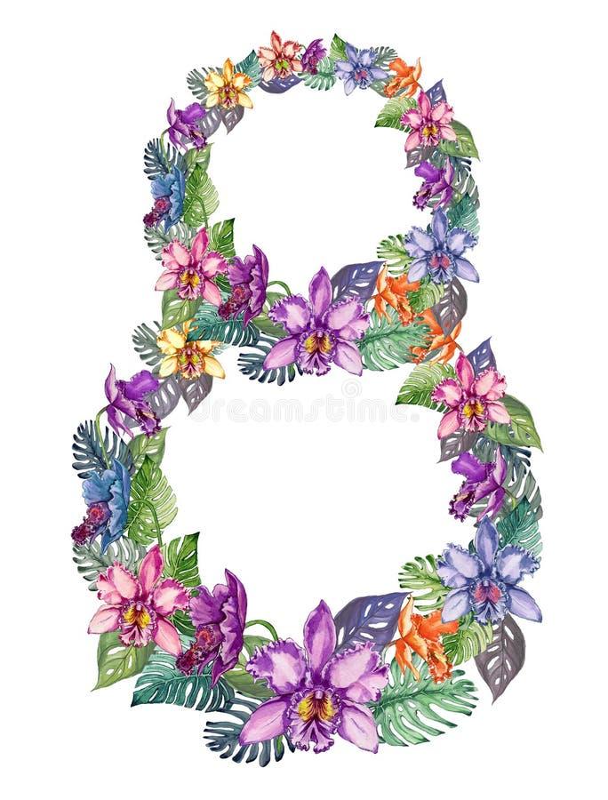 Nummer acht van mooie kleurrijke orchideebloemen en mosterabladeren dat wordt gemaakt illustratie voor vrouwen` s dag royalty-vrije illustratie