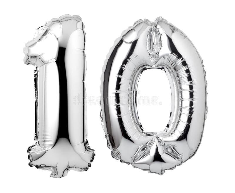 nummer 10 av försilvrar folieballonger arkivbild