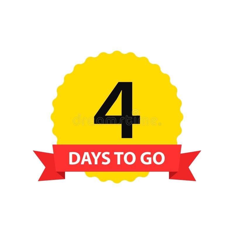 Nummer 4 dagen om te gaan De verkoop van inzamelingskentekens, landingspagina, banner Vector illustratie stock illustratie