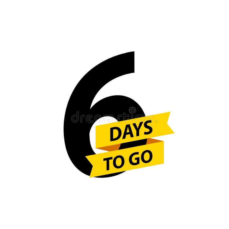 Nummer 6 dagen om te gaan De verkoop van inzamelingskentekens, landingspagina, banner Vector illustratie royalty-vrije illustratie