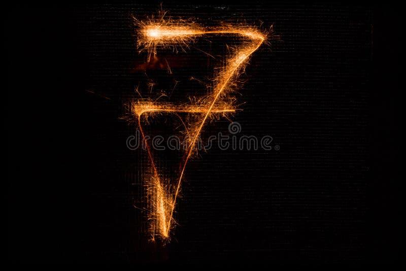 Nummer 7 dat van sterretjes op zwarte wordt gemaakt stock afbeelding