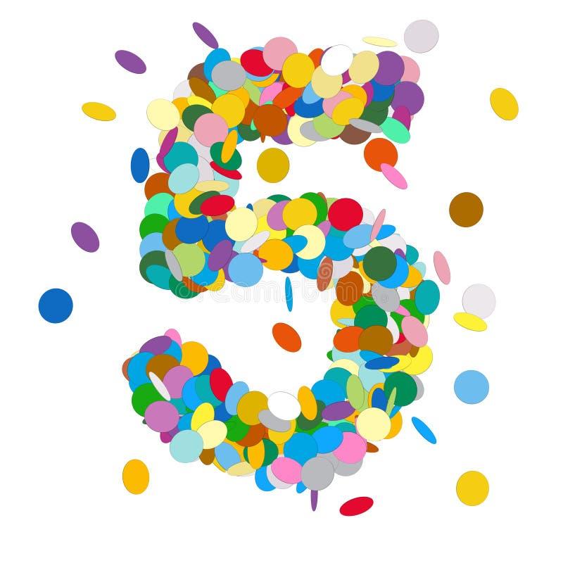 Nummer 5 Doopvont - Mooi Abstract Kleurrijk Vectorconfettienteken - Nummer Vijf vector illustratie