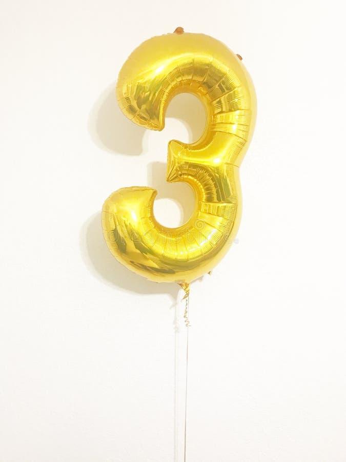 Nummer drie ballon royalty-vrije stock afbeelding