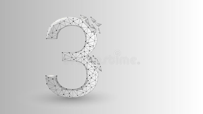 Nummer drie 2D lage poly abstracte illustratie die uit punten, lijnen, en vormen in de vorm van planeten, sterren bestaan en stock illustratie