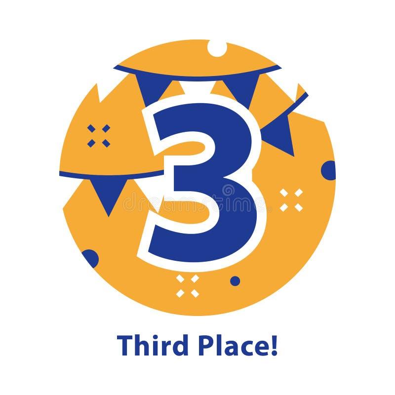 Nummer drie, derde plaats, toekenningsceremonie, het vieren gebeurtenis, succesvolle verwezenlijking royalty-vrije illustratie