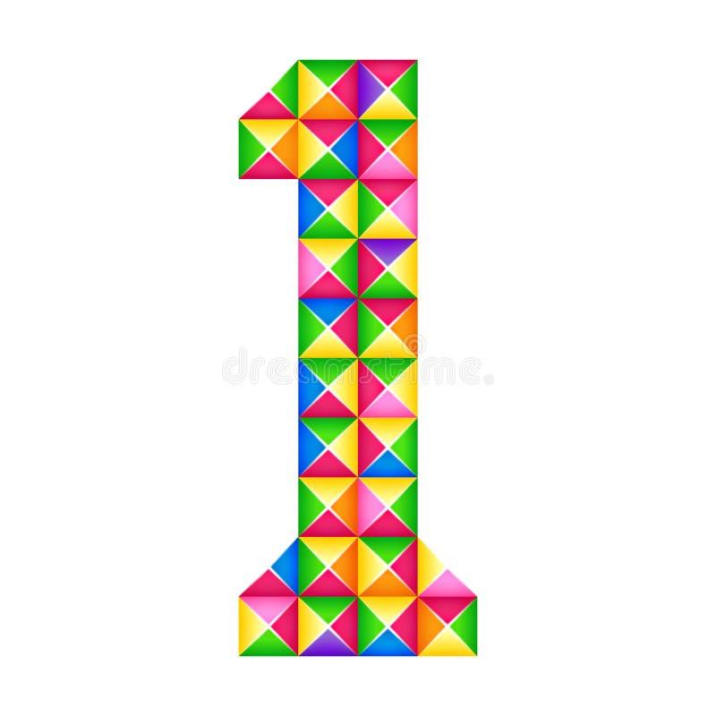 Nummer 1 eerst Realistisch 3D geïsoleerd origamieffect Cijfer van alfabet, cijfer stock illustratie