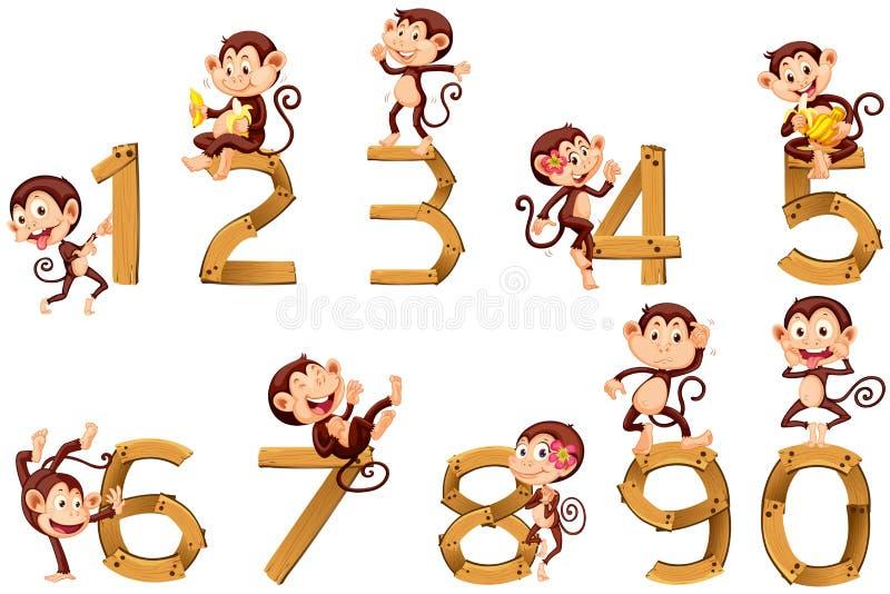 Nummer Eins bis zehn mit Affen vektor abbildung