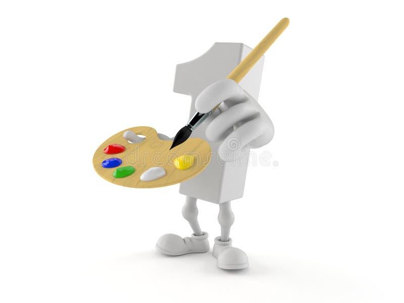 Nummer Eins-Charakter-Holdingmalerpinsel und Farbenpalette vektor abbildung