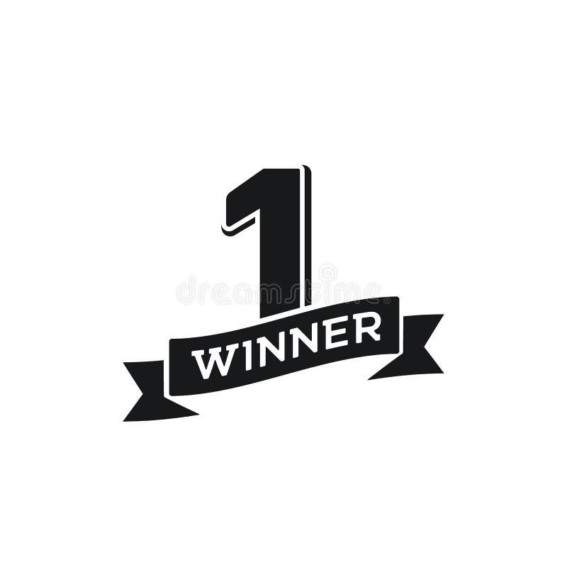 Nummer eins Gewinner-Retrovektor-Emblem Vintage Black Logo 1 Platz Champion mit farbenfrohen, weißen Hintergrund Einzelobjektdesi stock abbildung