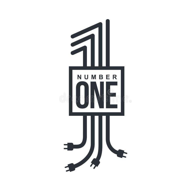 Nummer Eins-Logo bildete sich durch elektrische Leitungen mit Steckern lizenzfreie abbildung